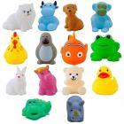 Toddler Baby Bathing Chu Chu Squeeze Bath Toys Non-Toxic Bpa Free, Animal Shape (Pack Of 12)