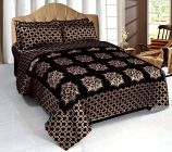 FABRIC EMPIRE Premium Velvet Double Bed Sheet Cover With 2 Pillow Covers (Size: 90 X 100 Inch)
