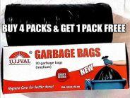 UJJVAL Garbage Bags Medium Disposable Garbage Bags for Dry and Wet Waste (Black) (Buy 4 Packs & Get 1 Pack Free)