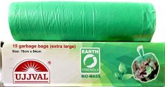UJJVAL Biodegradable Garbage Bags Extra Large Size Garbage Bags For Dry & Wet Waste (Green) (Buy 4 Packs & Get 1 Free | 1 Pack 15 Bags)