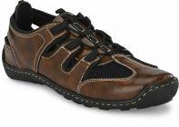 AUSTINJUSTIN Self Design Solid Top Grain, Synthetic Material, T.P.R Sole Sandal For Men (Color-Brown)