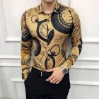 Regular Fit Cotton Blend Printed Long Sleeves Casual Shirt for Men's (Brown) (Pack of 1)