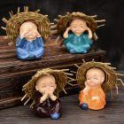 VRS Set of 4 Baby Hat Monk Buddha Idols Showpiece for Car Dashboard, Home Decor, Office, Interior Desk Decor