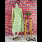 WACA Stylish & Trendy Unstitched Chanderi Suit Piece With Chikankari Embroidery with it comes a Lavishing Dupatta for Women's (Pack: Pack of 1)   (Color: Chartreuse Green)