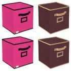 Unicrafts Storage Box Organizer for Clothes Toys Files Storage With Cloth Cover (Pack Of 4)