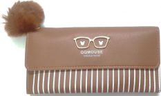 Fashionable  and cute pom pom design Clutch Bag For Womens (Brown) (Pack of 1)