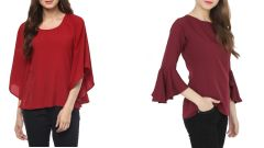 Maroon Boat Neck Bell Sleeve And Red Bell Sleeves Top Combo