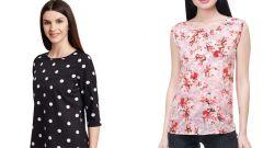 Black Polka Dots Printed  And Black Floral Printed Top Combo