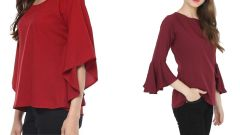 Red Half Sleeve Loose And Maroon Boat Neck Bell Sleeve Tops Combo