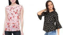 Black Bell Frill Sleeve And Sleeveless Floral Printed Top Combo
