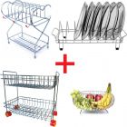 Prabhed Stainless Steel Dish Rack Stand | 2 Layer Fix Basket | Round Fruit and Veg Basket | 6 Cups & 6 Plates Stand for Kitchen (Pack of 4)