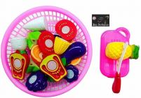 Vegetables & Fruit Cooking Play House Set Toy With Cutting Board, Basket, Knife & Various Types Of Fruits For Kids (Pack Of 1 Set)
