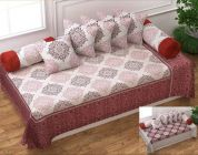 Fabric Empire Cotton Set with 1 Single Bedsheet, 2 Bolster Covers & 5 Cushion Covers (Pack of 8)