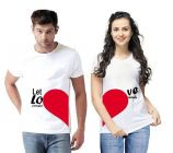 Fashionable and Stylish Cotton Blend Printed Matching Couple Round Neck T-Shirt For Men and Women (White) (Pack of 2)