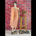 WACA Stylish & Modish Unstitched Kota Suit Piece With Chikankari Embroidery with it comes a Lavishing Dupatta for Women's (Pack: Pack of 1) | (Color: Creamsicle Orange)