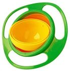 Aaradhya Bazaar 1 No Spill Gyro Bowl, 360 Degree Rotation Spill Proof Food Bowl, Ideal for Kids Red & Green (Pack of 1)