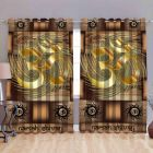 Fabric Empire Polyester Blend Om Printed Designer Door Curtains (Pack of 2)