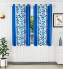 Rod Pocket Fitting Polyester Fabric Curtain Perfect for Door 150cm x 120cm (Sky Blue) | (Pack of 2)