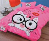FABRIC EMPIRE Cotton Cute Cat Printed Kids Version Comforter Set With 1 Double Bedsheet and 2 Pillow Covers