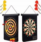 Latest Roll-Up Magnetic Dart Board Set Double Sided Hanging Wall Dartboard With 6 Safety Darts Needles Magnetic Power With Double Faced Portable And Foldable Dart Game With 6 Colourful Non Pointed Darts For Kids (Pack Of 1 Set)