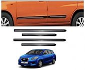 After Cars Datsun Go Plus Car Black Side Beading with Chrome Line Set of 4