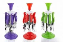 Plastic Cutlery Delux Set with Stand 6 Desert Spoon   6 Tea Spoon   6 Fork (0.5 Quart) (Random Colour will be Ship)
