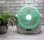 SP Enterprises Powerful Rechargeable High-Speed Table Desk Fan with LED Light for Home, Office Desk, Kitchen, Table Fan with Strong Airflow Quiet Operation Portable Fan Speed Adjustable