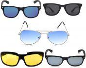 Stylish & Cool UV Protection Wayfarer Sunglasses (Free Size)  (Yellow, Blue, Silver, Black) (Pack Of 5)