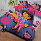 FABRIC EMPIRE Cotton Dora Printed Kids Version Comforter Set With 1 Double Bedsheet and 2 Pillow Covers