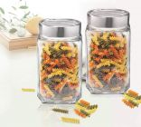 Cyalerva Glass Kitchen Storage Jar And Container, Canister With Airtight Steel Lid, Glass Kitchen Containers for Pantry (1000 ml) (Pack of 2)