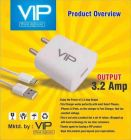 VIP 3.2 Amps Single USB Fast Charger with Data Cable (Pack of 1) | (White)