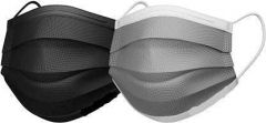 PALOMINO Water Resistant Surgical Mask With Melt Blown Fabric 4 Layer (Black & White) (Pack of 50)