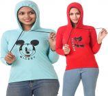 Women's Full Sleeve Solid Sweatshirt Pack of 2 (Blue & Red)