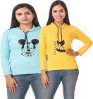 Women's Full Sleeve Solid Sweatshirt Combo of 2 (Blue & Yellow)