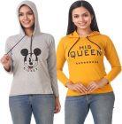 Women's Full Sleeve Solid Sweatshirt Pack of 2 (Grey & Yellow)