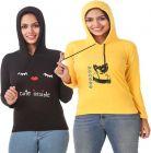 Women's Full Sleeve Solid Sweatshirt Pack of 2 (Black & Yellow)