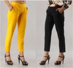Fearless Fashion Regular Fit Women White Cotton Blend Trousers For Casual Occasion (Black & Yellow) (Pack of 2)