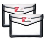 Tulman A4 Size Document Organizer Transparent Project Envelope Folder with Snap Button Closure (Pack of 2)