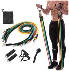 CYALERVA Exercise Band With Door Anchor, Handle, Waterproof Carry Bag & Legs Ankle Straps And Many More (Set of 11 pcs)