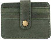 Men Green Genuine Leather RFID Card Holder  (5 Card Slots)