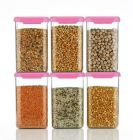 Gayatri Exim Air Tight Square Shape Kitchen Storage Container | Food Storage Container 1100 ml (Pack Of 6) (Pink)