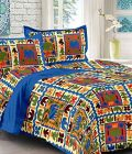 Astro 144 Tc Geometric Flat 100% Pure Cotton Jaipur Block Printing King Size Double Bedsheet with 2 Pillow Covers