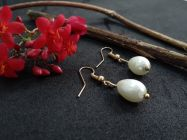 Astrogemsindia Fashionable and Designer White Plated Natural Pearl Earring For Women's & Girls