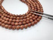 Astrogemsindia Natural AAA Quality Energized Sun Stone Round Shape Gemstone Necklace Beads Mala & Bracelet Combo Set for Men's & Women's