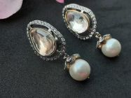 Astrogemsindia Trendy and Fashionable 925 Sterling Silver Swarovski and Pearl Design Earrings For Women & Girls