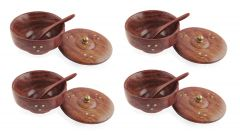 Cooking Spoon Kitchen Cooking Tool Color: Brown (Material: Wood) (Pack of 4 )