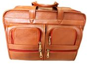 Elegant Exclusives Leather Laptop Office Bag with Multiple Compartments Stylish & Fasteners Double Handle Unisex Extendable Office Briefcase for Men's and Women's (Tan)