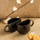 Unique Ceramic Coffee Mugs & Half Ceramic Tea Cups Set for Tea (Set of 2 Black 130 ML Dishwasher & Microwave Safe)