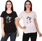 Women's Printed Cat Casual Half Sleeve Top White & Black (Set of 2)