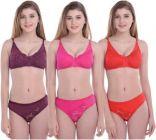 Bra & Panty Set Solid Purple, Pink, Red Lingerie Set